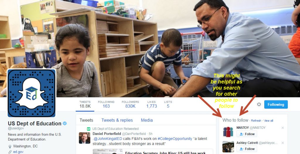 Check out the Department of Education's Twitter page here and notice how you can also find suggested followers to follow on the right side of the page!